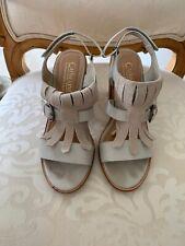catherine malandrino Beige Sandal Heels Fringe Detail Size 6