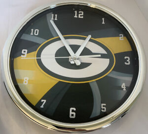 """Green Bay Packers 12"""" Round Chrome Wall/Freestanding Clock The Memory Company"""