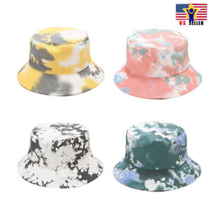 Tie Dye Solid Reversible Bucket Camouflage Hat Fisherman Cap Sun Protection 2way