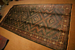 COLLECTORS' PIECE Antique Zanjir Gul Tribal Nomadic Carpet,Natural Vegetable Dye