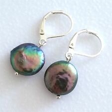 LOVELY PAIR OF SILVER PLATED NATURAL BLACK COIN PEARL EARRINGS. HIGH LASTER.