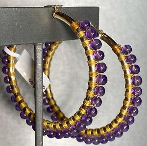 HUGE 14K Yellow Gold Purple Amethyst Bead Cabochon Earrings Mega Hoop Hoops