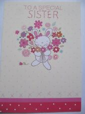 Wonderful Cute Bunny & Flowers Sister Colourful Birthday Greeting Card