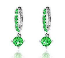 Crystal Diamante Silver with Green Zircons Rhinestone Hoops Earrings E587