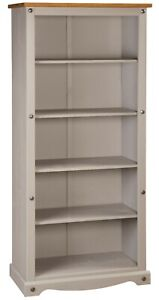 Corona Grey Wax Tall Pine Bookcase 5 Book Shelves Mexican Solid Wood Living Room