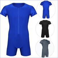 Mens Soft Boxer Briefs Short Sleeve Front Zipper Sports Gym Jumpsuit Underwear