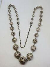 Ball Link Necklace 80.84g Vintage Sterling Silver Heavy Filigree