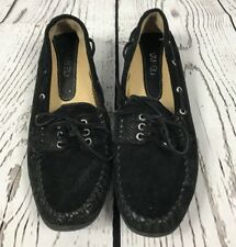 Women's Size 7.5A Vaneli Slip-On Leather Flats Designed in Italy EUC FAST SHIP!