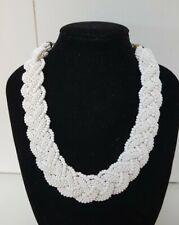 Vintage 1950's Art Deco Classic White Braide Milk Glass Seed Bead Necklace 40cm