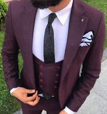 Designer Business Violet Purple Suit Jacket Trousers Vest Fitted Slim Fit