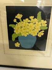"JOHN HALL THORPE "" Primroses "" Signed Woodcut 1922  - Framed and glazed"