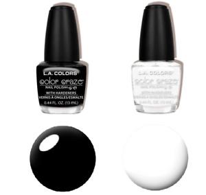 Set of 2 LA COLORS Naturals Nail Polish Black & White CIRCUITS + ENERGY SOURCE