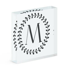 Letter M Floral Wreath Alphabet Acrylic Photo Block Frame Flowers