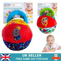 Baby Soft Fabric Ball Rattle | Newborn Sensory Crib Toy | 0-36 Months Infant UK