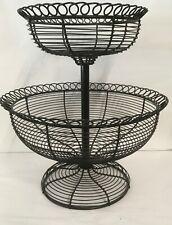 "16"" Black 2 Tier Wire Metal Fruit Basket Stand Organizer Table / Countertop"