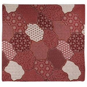 "Japanese Zabuton Floor Pillow Cushion Cover 23"" x 21"" Komon Maroon Made in Japan"