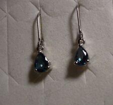 London Blue Topaz Earrings (Leverback) 2 gemstones 1.65tcw MSRP$399