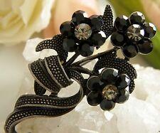 Brosche Tombak drei schwarze Blüten Gablonzer Strass im Jugendstil um 1980 B260