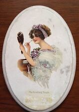 """Antique Plaque on Plaster of Gibson Girl """"The Finishing Touch"""" 1911"""