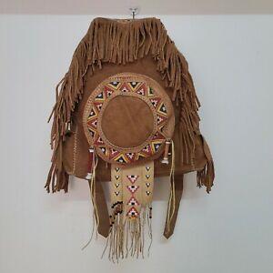 Vintage hippie Indian leather fringe backpack  Large Boho  Summer bag