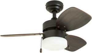 """30"""" Bronze LED Indoor Ceiling Fan with Light Kit"""