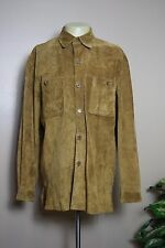 VINTAGE MENS BARACUTA BROWN LEATHER BUTTON SHIRT * LARGE