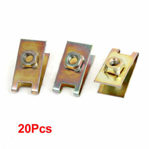 20pcs Metal Plate U-Type Clips Speed Nuts M6 for Car Panel Fender
