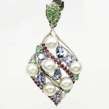 Großer Anhänger Tansanit Perle Rubin Smaragd Tsavorit 925 Silber 585 Weißgold
