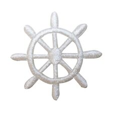 ID 2364A Ship Captain Steering Wheel Patch Boat Embroidered Iron On Applique