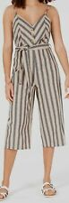 $140 Rosie Harlow Juniors' Pink Gray Striped V-Neck Pull On Jumpsuit Size L