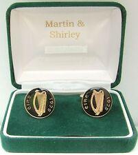 1979 Mancuernas hechas de vieja Irlanda Irlandés monedas en negro y dorado
