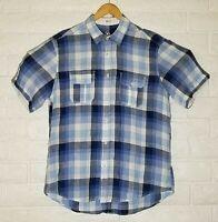 Bugatchi Uomo Mens Large 100% Linen Blue Sport Shirt Short Sleeve Shaped Fit