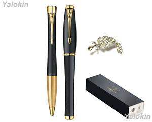 Premium Pen Gift Set Muted Black w Gold Trim Finish Urban Ballpoint & Rollerball