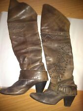 Brown Leather Knee High boots Studded Cowboy Heels River Island size 6