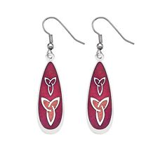 Silver Plated and Enamel Celtic Trinity Knot Red Ear Wire Earrings (3239)
