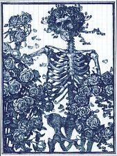 BLUE BERTHA SKELETON AND ROSES GRATEFUL DEAD  QUALITY BLOTTER ART STANLEY MOUSE
