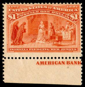 MOMEN: US STAMPS #241 $1 COLUMBIAN MINT OG NH IMPRINT MARGIN PSE CERT