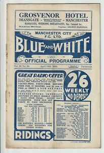 Manchester City V Wolverhampton Wanderers Rare Division One Programme 1935/36