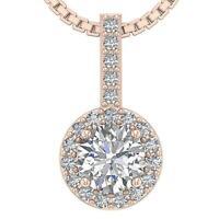 Halo Circle Pendant Necklace I1 G 0.75 Ct Round Diamond 14K Rose Gold Appraisal