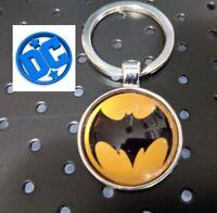 DC Comics BATMAN Logo metal glass silver plated Movie Key chain cosplay Bat man