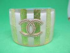 Chanel Cuff Bracelet 2013 Cruise Collection Mint & Gold CC Pearls  Resin