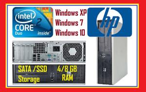 Desktop PC HP Intel Core 2 Duo 4GB/8GB SATA/SSD XP Windows7 64/32Bit Windows10