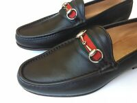 GUCCI Roos Horsebit Web Brown Leather Classic Loafers Size UK 8.5 (US 9) $650