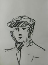 JOSE TRUJILLO - Contemporary ORIGINAL CHARCOAL DRAWING SIGNED YOUNG MAN WITH CAP