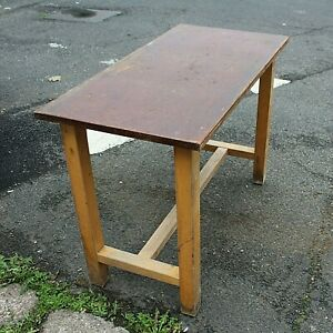 Vintage laboratory table home schooling art kitchen crafting solid beech Remploy