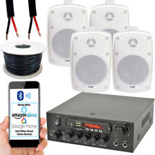 Outdoor Bluetooth Speaker Kit –4x 60W White– Stereo Amplifier Garden BBQ Parties