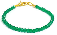 "3-4MM Dyed Green Jade Rondelle Gemstone Faceted Beads 7"" Bracelet Jewellery"