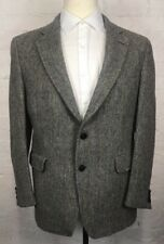 JOS A BANK Harris Tweed Blazer Men's 40R Gray Herringbone Striped Vintage