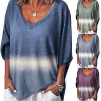 Plus Size Womens Long Sleeve T Shirt Loose Gradient Blouses Casual Summer Tops