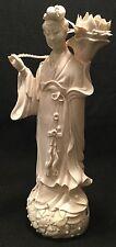 """Antique KUAN YIN Blanc de Chine DEHUA Porcelain Candle Holder - FAB but """"As-Is""""!"""